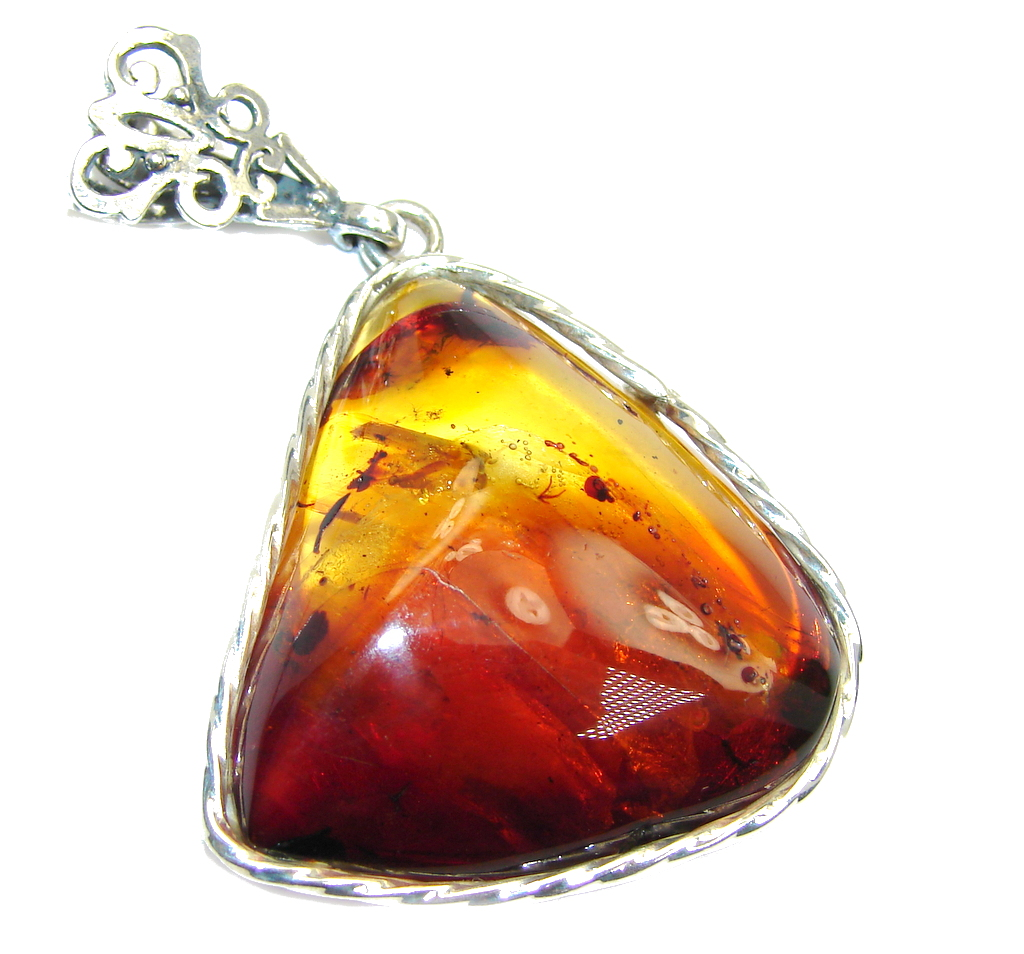 Genuine AAA Honey Baltic Polish Amber Sterling Silver Pendant