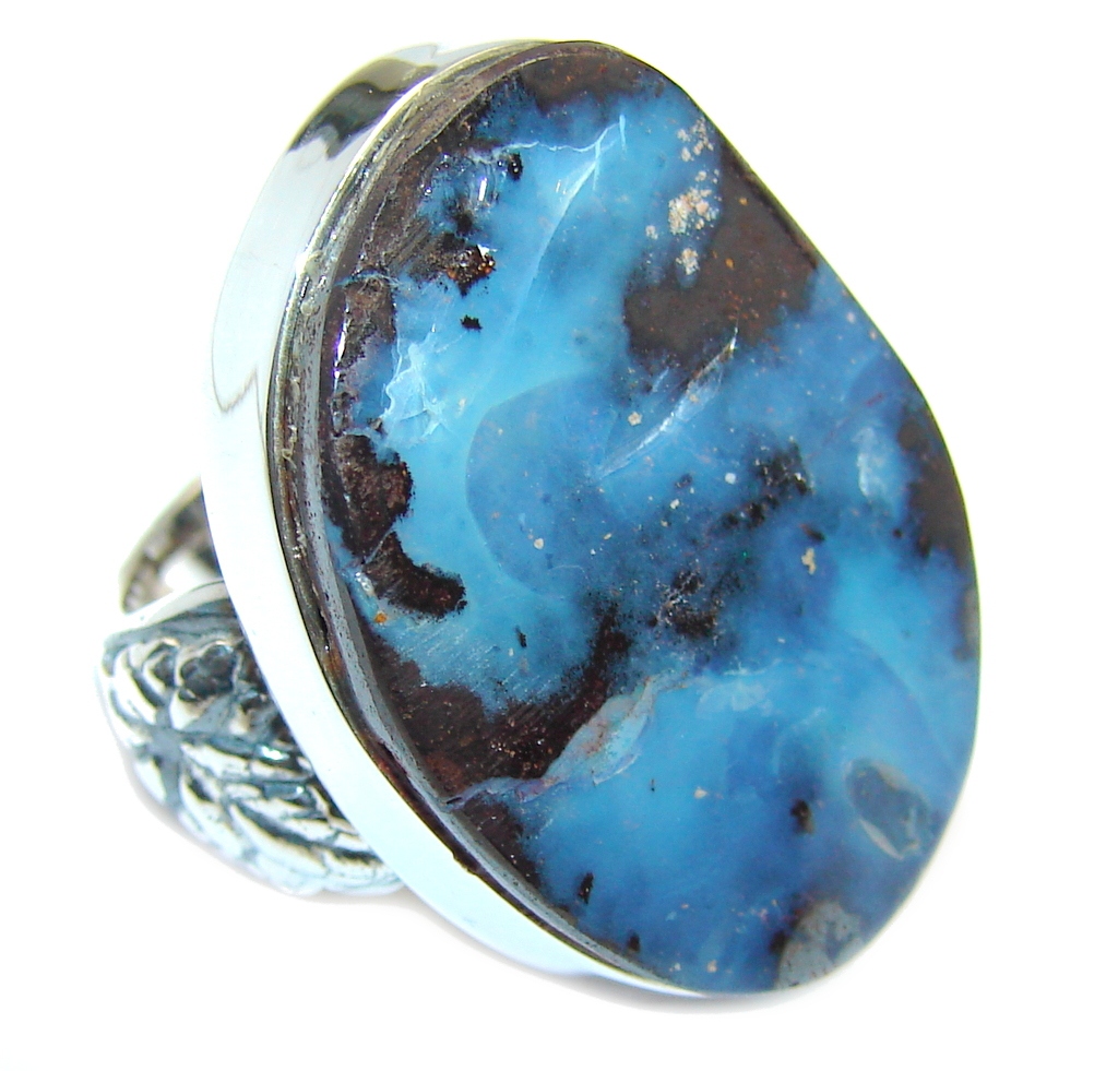 Amazing AAA Australian Boulder Opal Sterling Silver Ring s. 7 adjustable