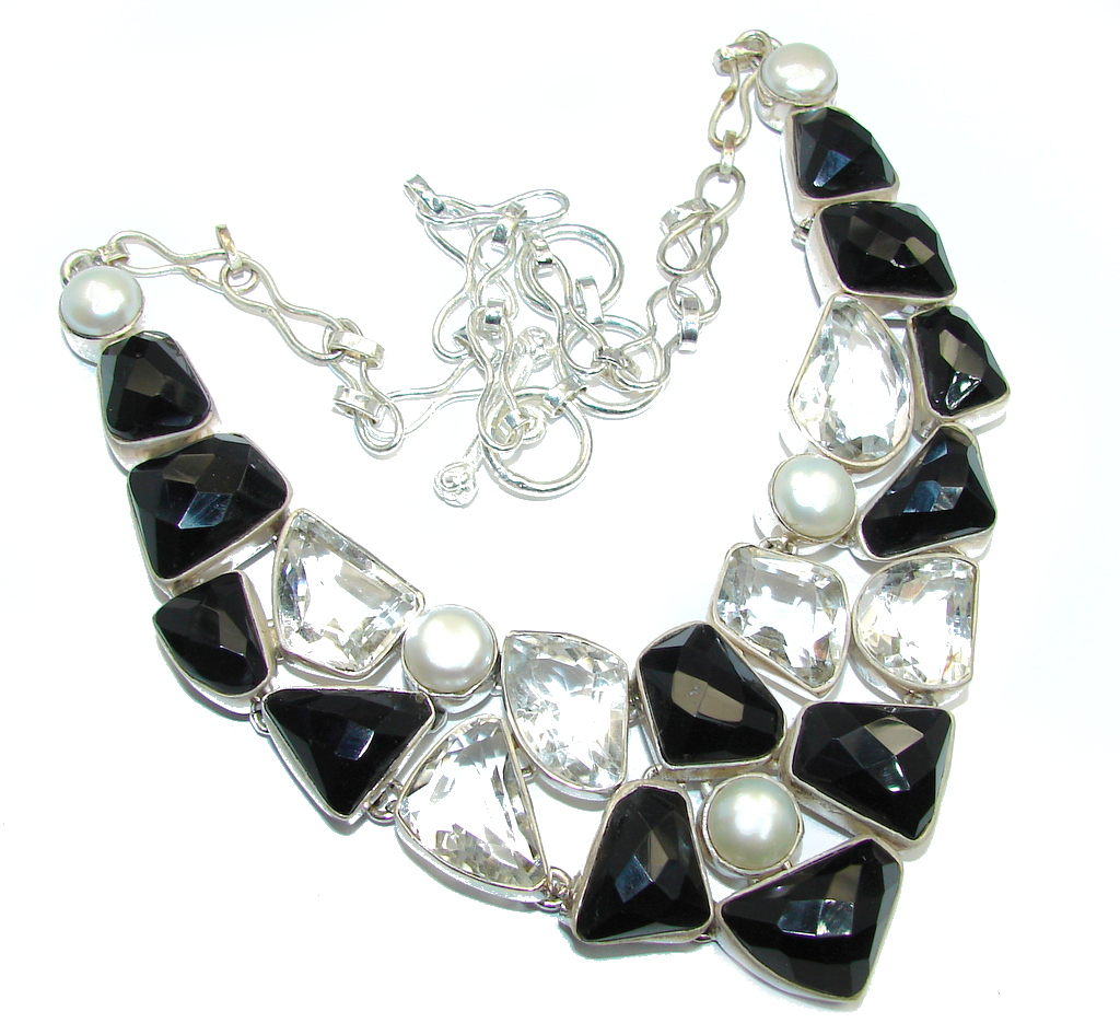 Bohemian Style Black Onyx & White Topaz Sterling Silver necklace