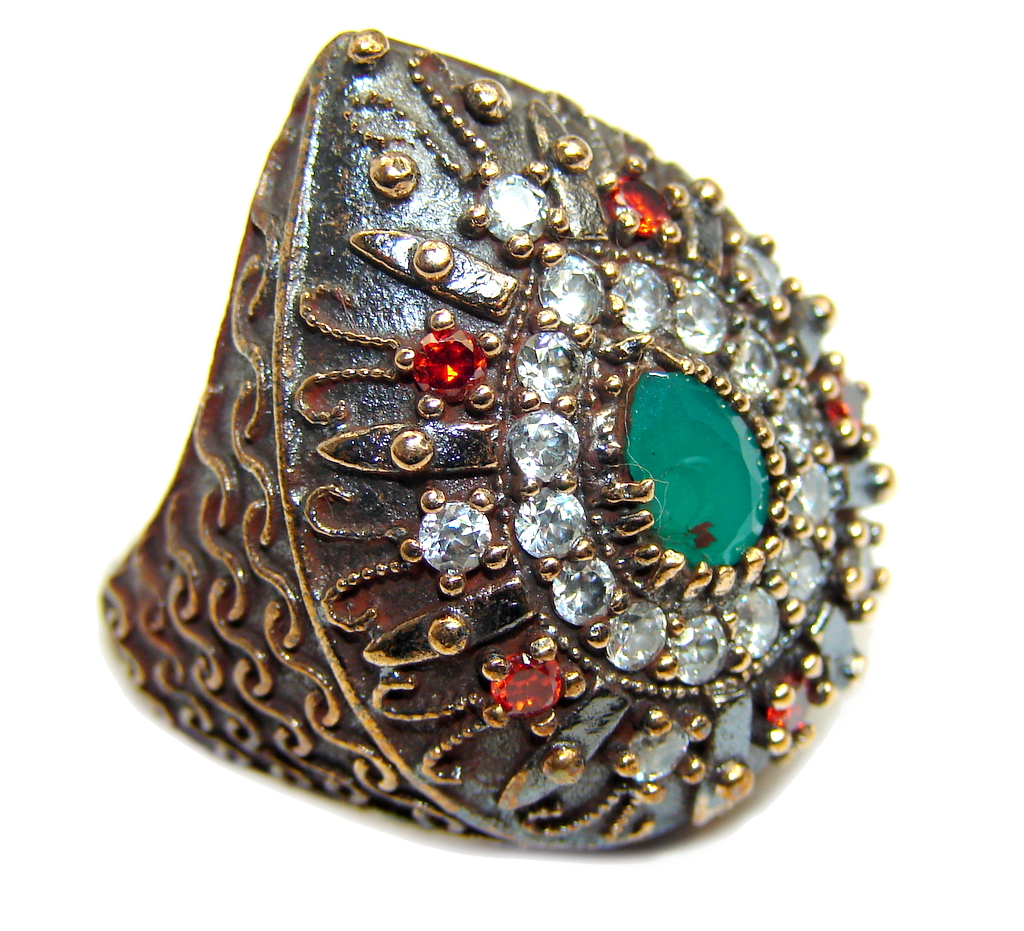 Victorian Style created Emerald & White Topaz Sterling Silver ring; s. 7..