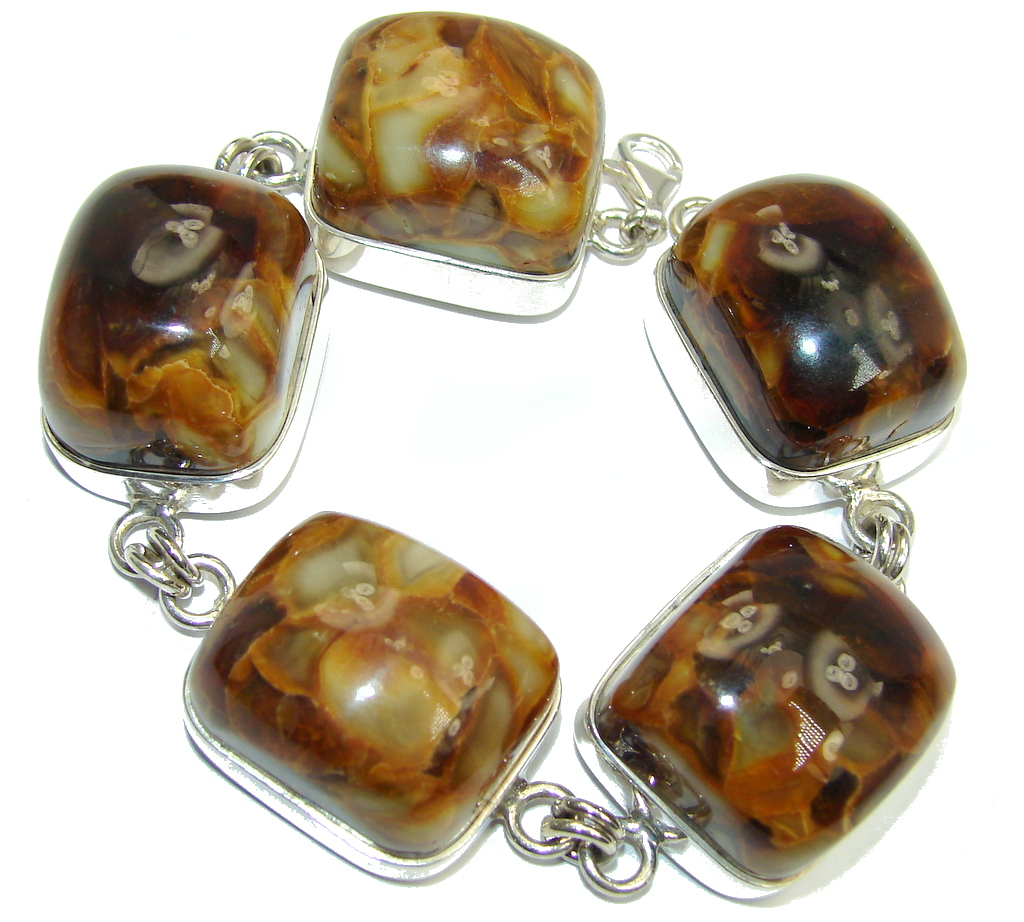 Huge Beautiful AAA Baltic Polish Amber Sterling Silver Bracelet