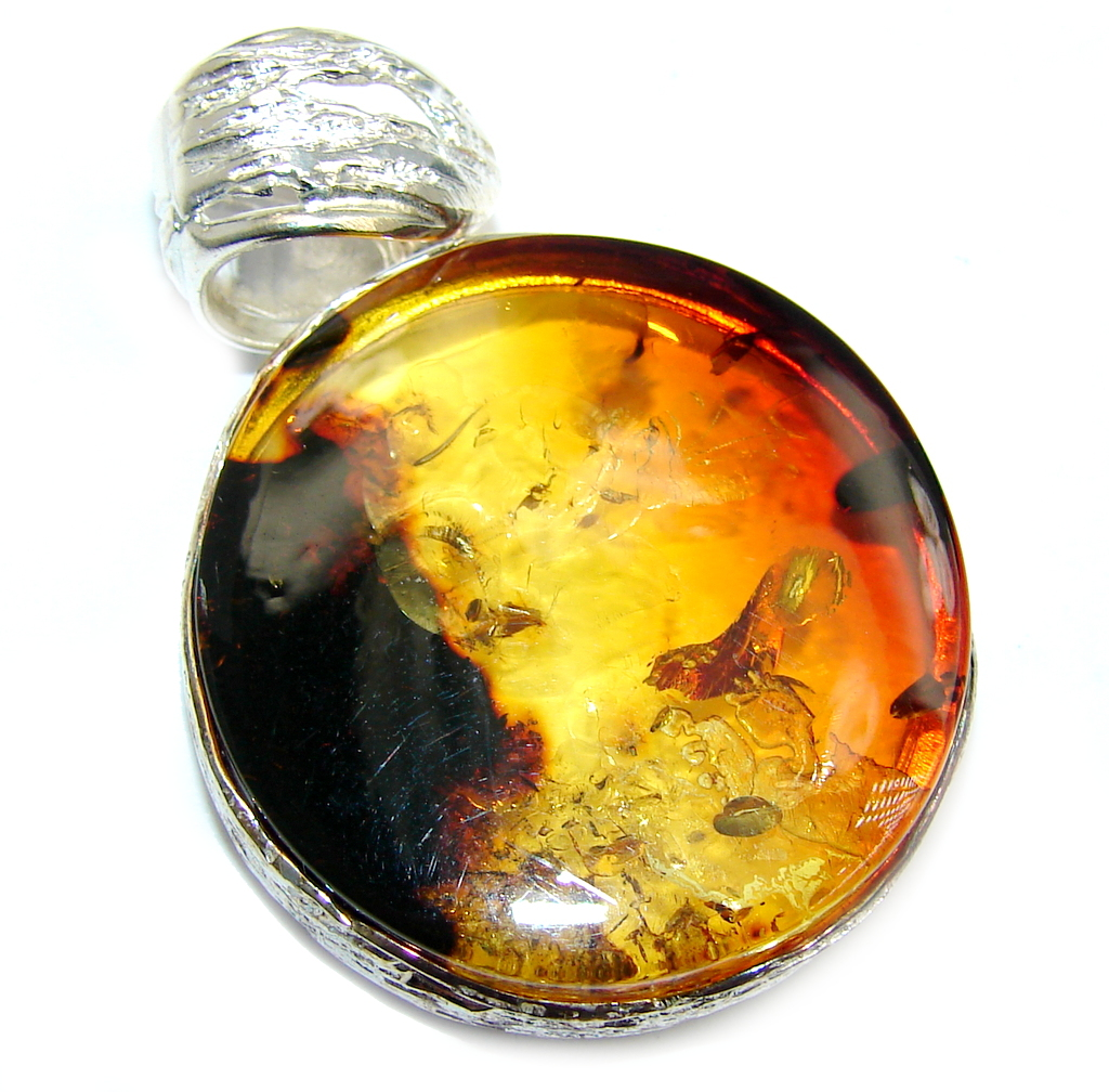 Back to Nature Baltic Polish Amber  Sterling Silver Pendant