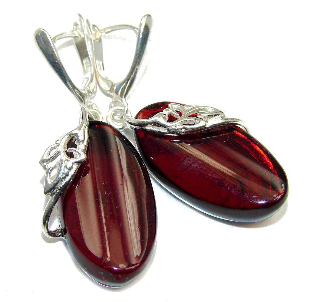 Beautiful Deep Cognac color Polish Amber Sterling Silver Earrings