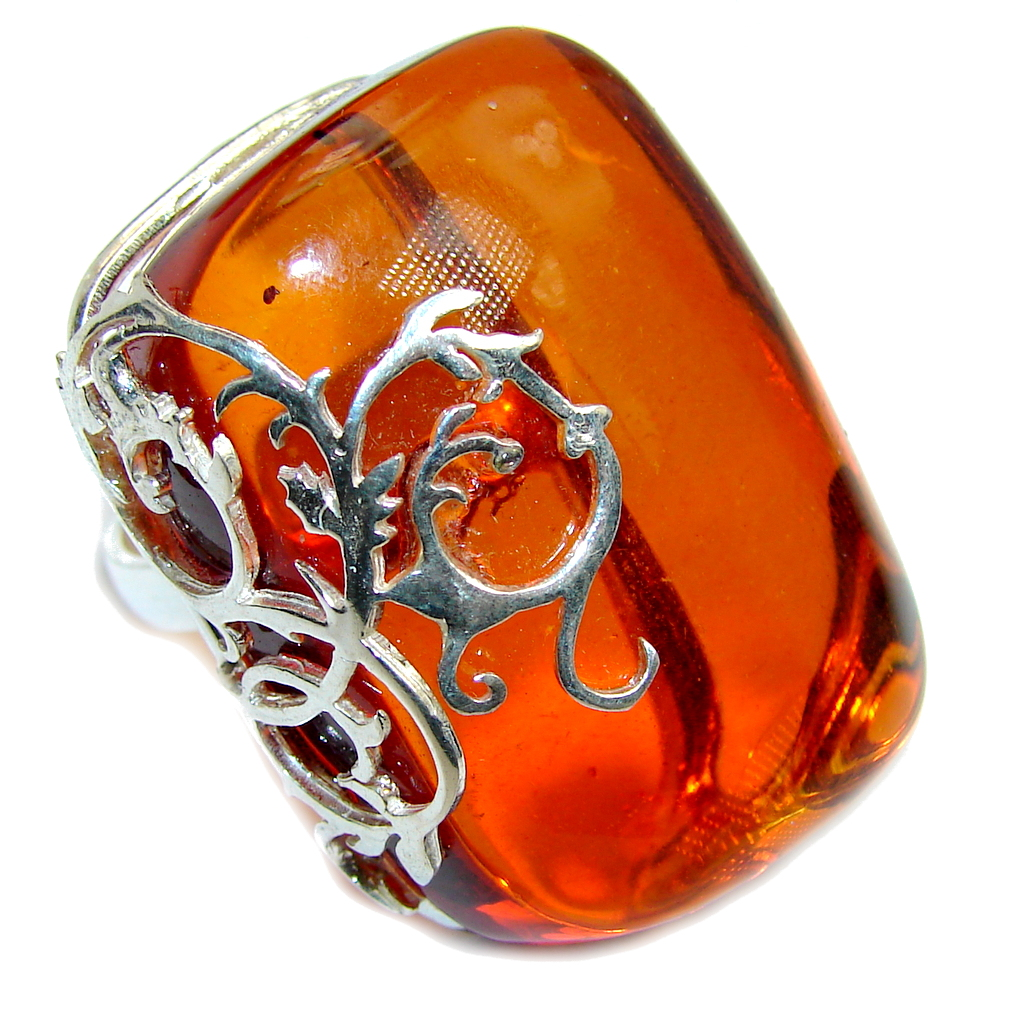 Chunky Oversized Genuine Polish Amber Sterling Silver Ring s. 9