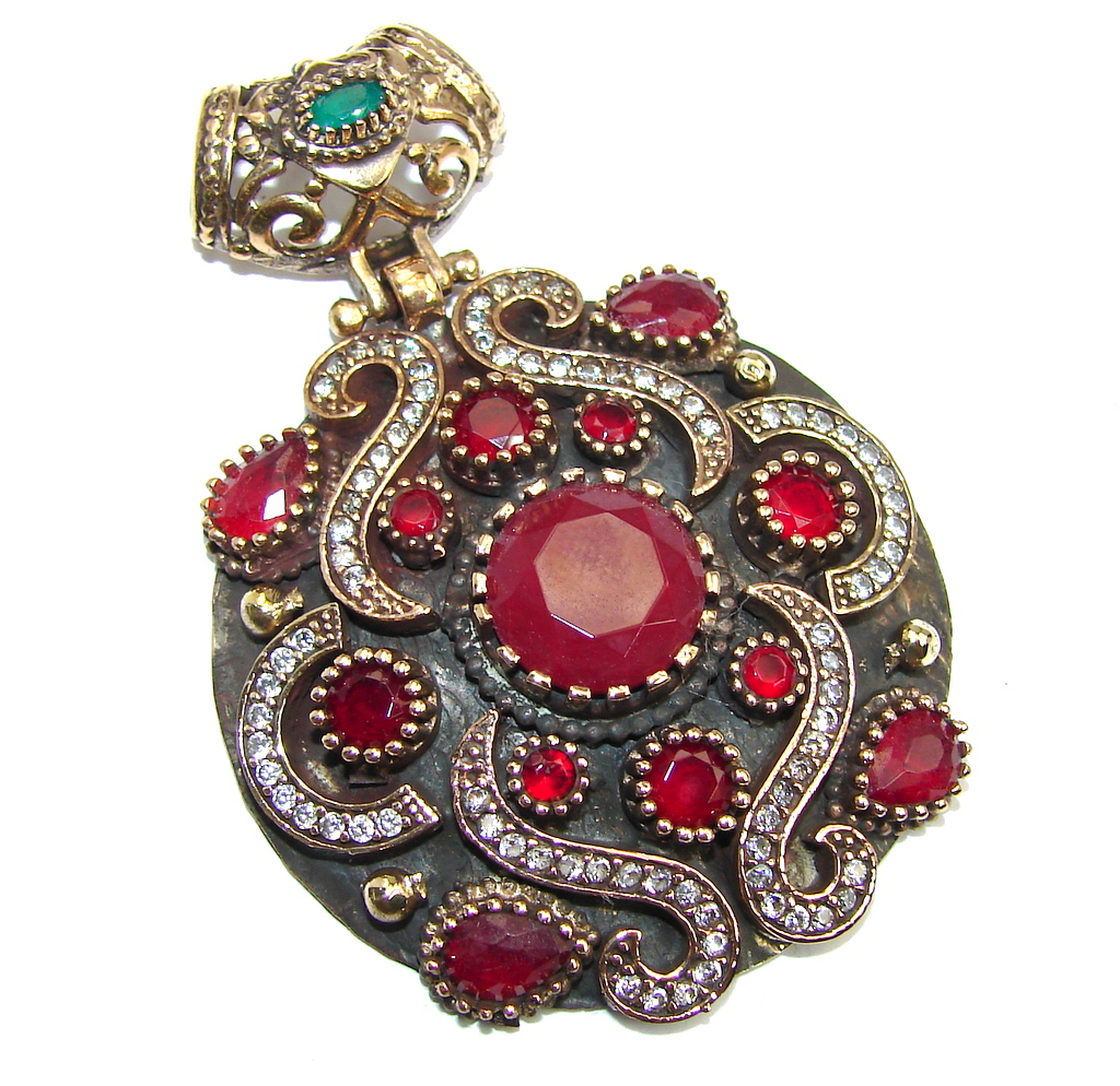 Perfect created Pink Ruby & White Topaz Sterling Silver Pendant