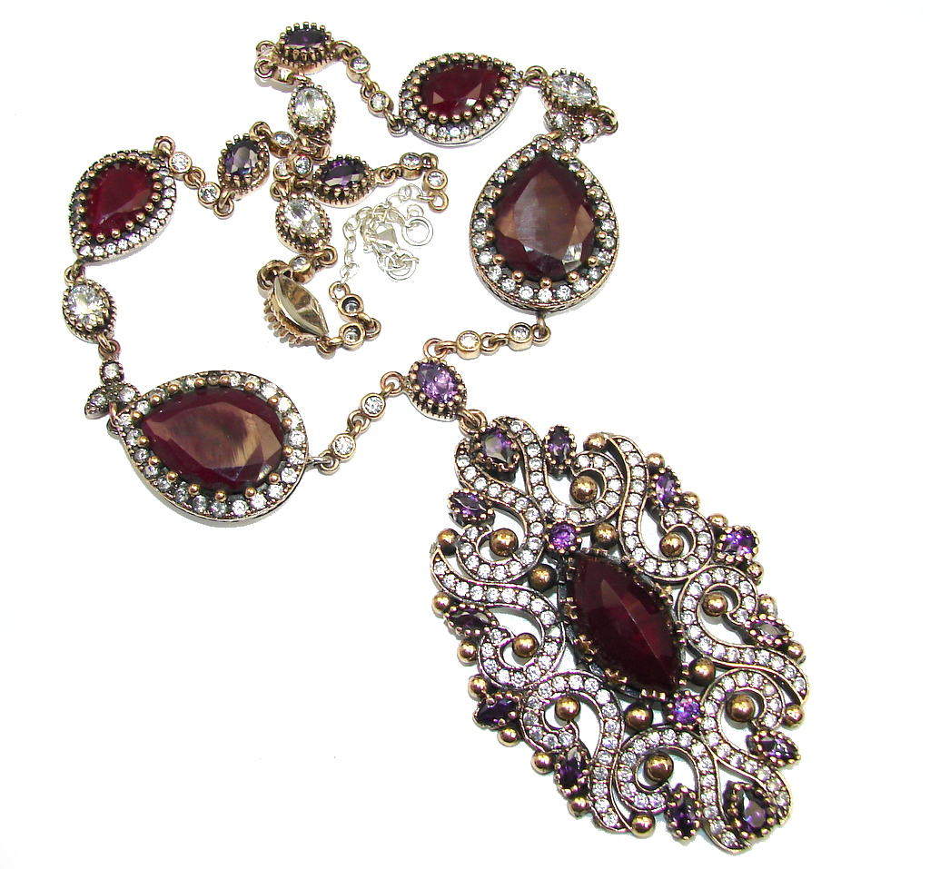 Huge Victorian created Sapphire Ruby & White Topaz Sterling Silver necklace