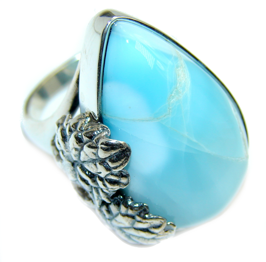 Amazing AAA quality Blue Larimar Sterling Silver Ring s. 7 1/2
