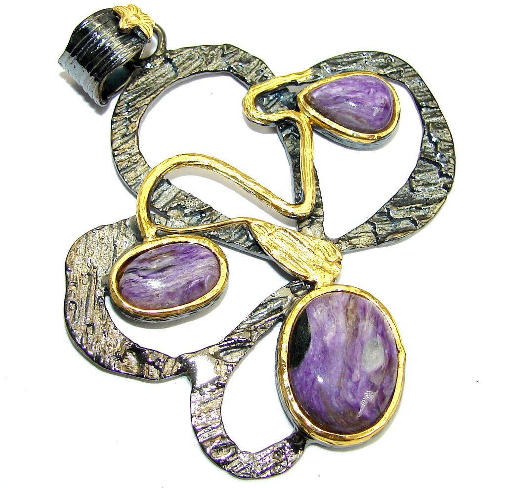 Abstract Purple Siberian Charoite  Gold Rhodium Plated over Sterling Silver Pendant