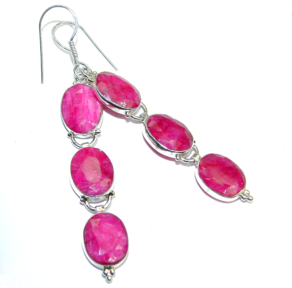 Long! Pink Ruby Sterling Silver earrings