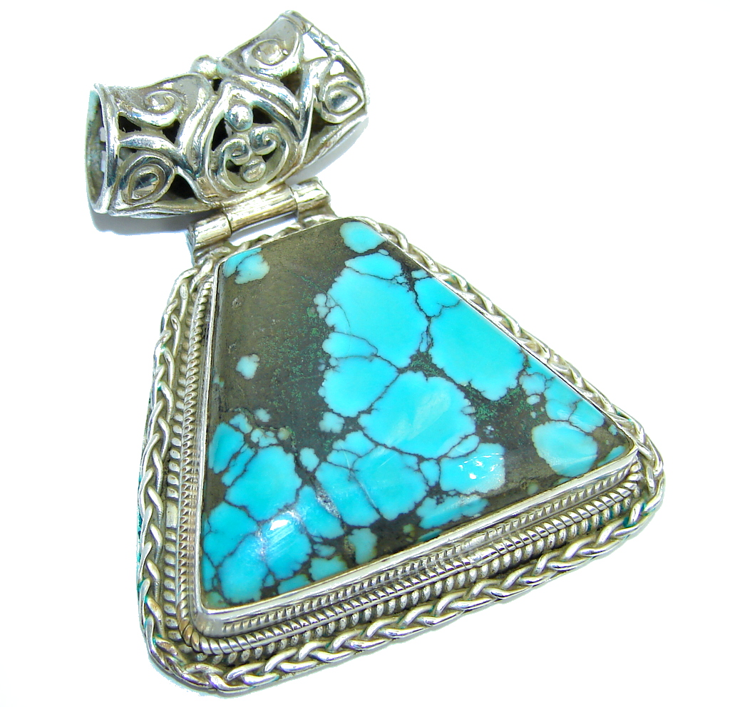 Huge Blue Turquoise Sterling Silver Pendant