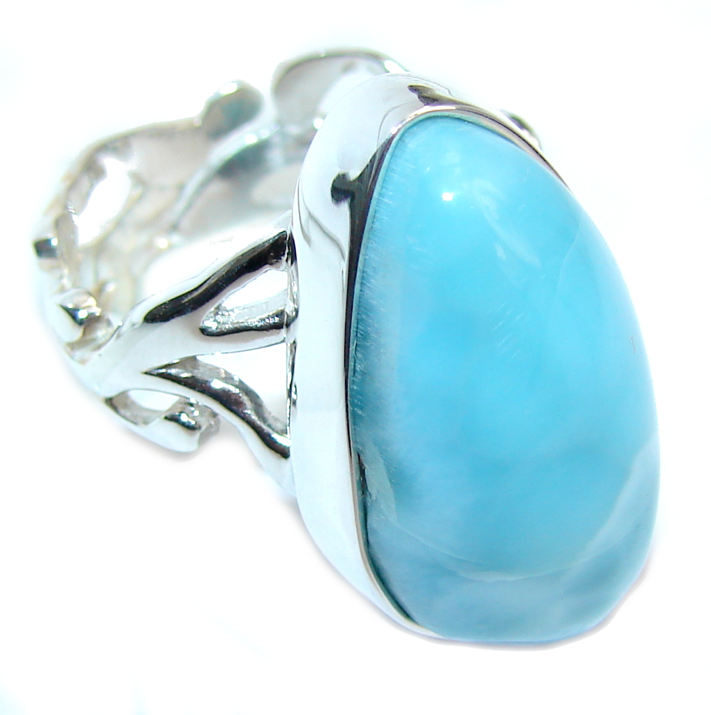 Amazing AAA quality Blue Larimar Sterling Silver Ring s. 7 adjustable