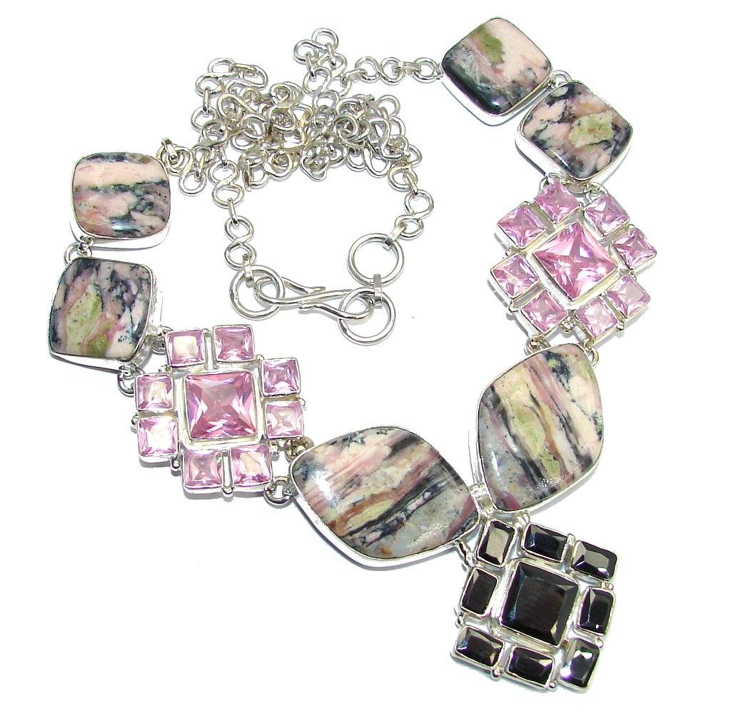 Beautiful Pink Opal & Pink Topaz  Sterling Silver Necklaces