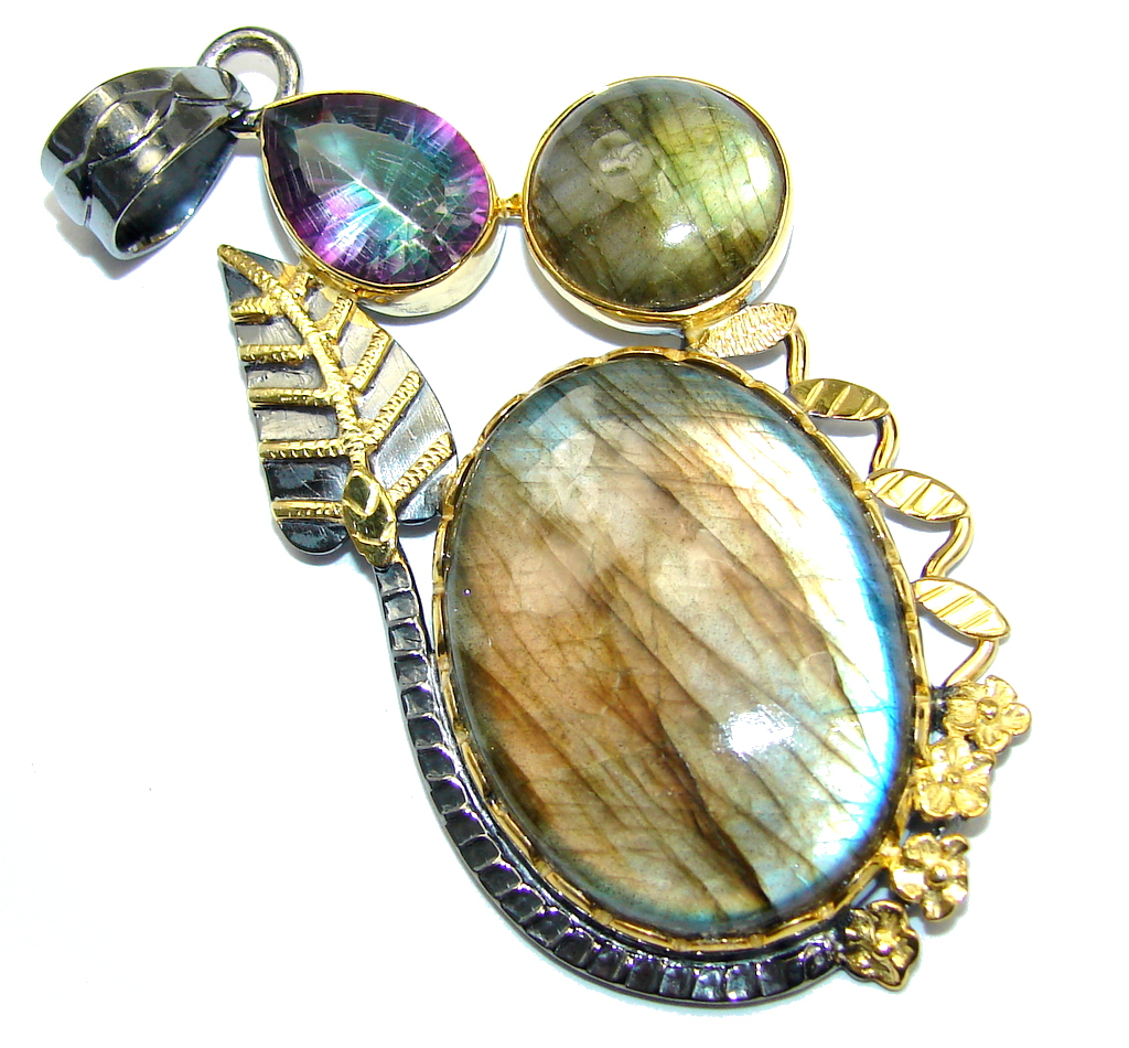 Amazing AAA Blue Fire Labradorite Gold plated over Sterling Silver Pendant
