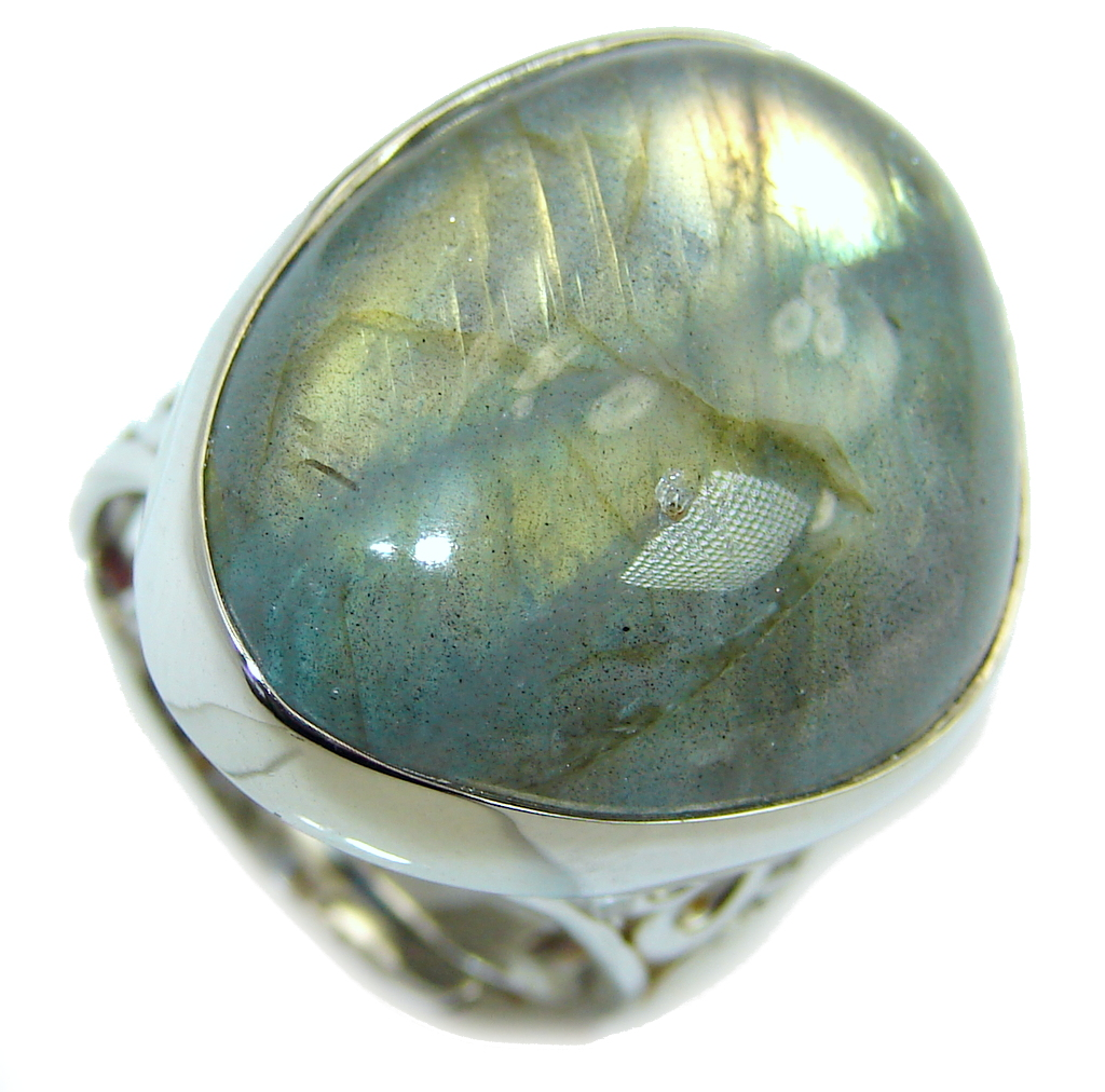 Captured Fire AAA Labradorite Sterling Silver Ring s. 7 - adjustable