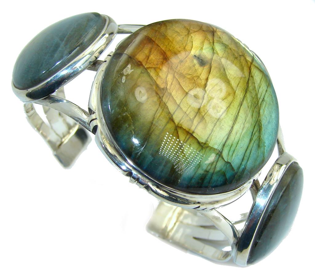 Bohemian Style Fire Labradorite Sterling Silver Bracelet / Cuff