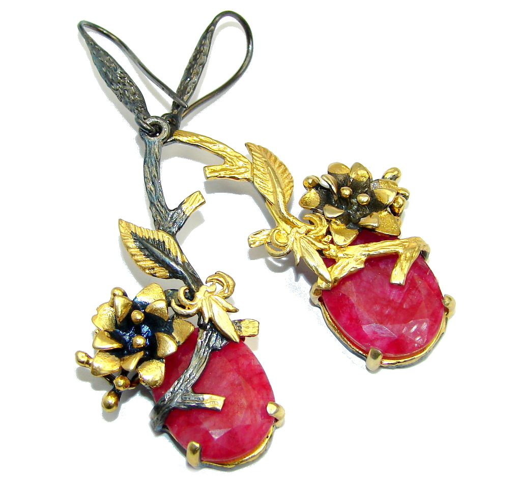 LOng Beautiful Red Ruby Gold Rhodium Plated over Sterling Silver earrings