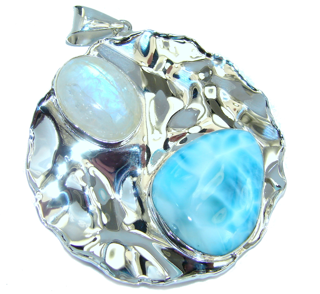 Natural AAA Blue Larimar Hammered Sterling Silver Pendant