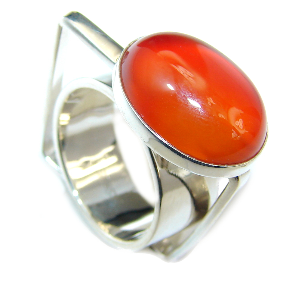 Simple Modern Orange Carnelian Sterling Silver ring s. 6