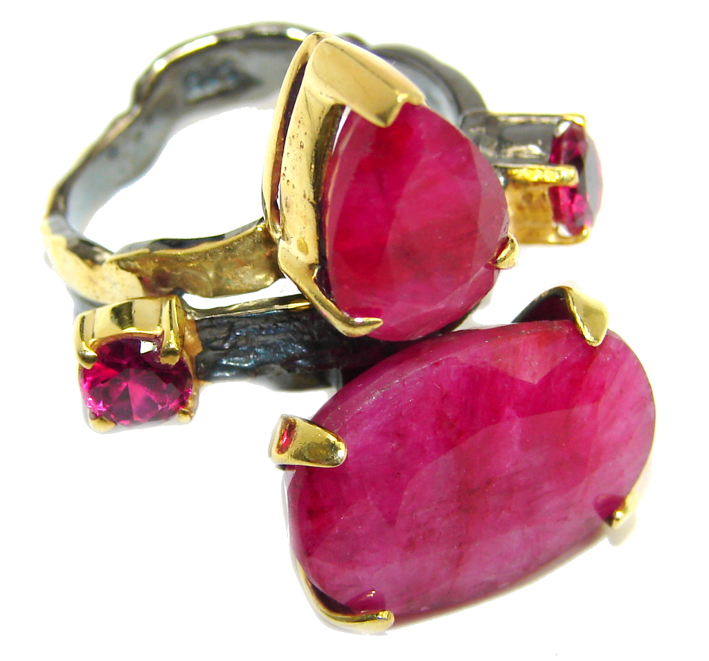 Genuine AAA Pink Ruby Gold Rhodium plated over Sterling Silver ring; s. 8