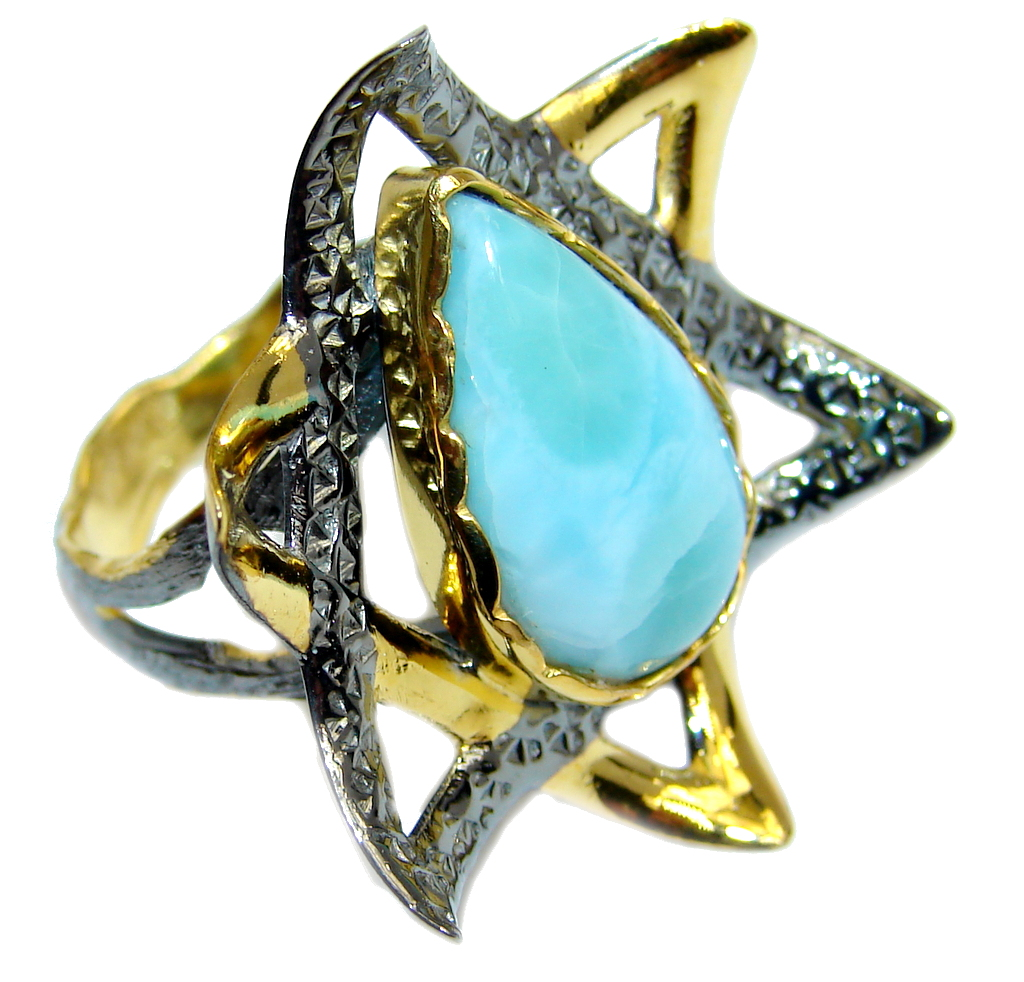Amazing AAA Blue Larimar Gold Rhodium plated over Sterling Silver Ring s. 7