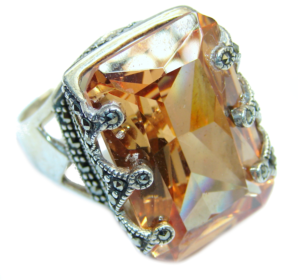 Big Secret Golden Topaz Marcasite  Sterling Silver Ring s. 8