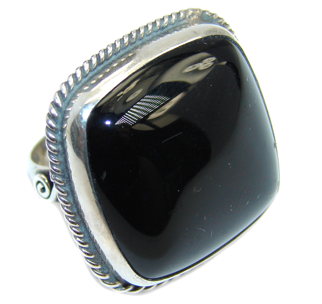 Amazing AAA Black Onyx Sterling Silver ring s. 5 3/4