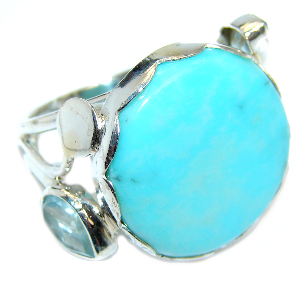 Amazing AAA quality Blue Sleeping Beauty Turquoise Sterling Silver Ring s. 8