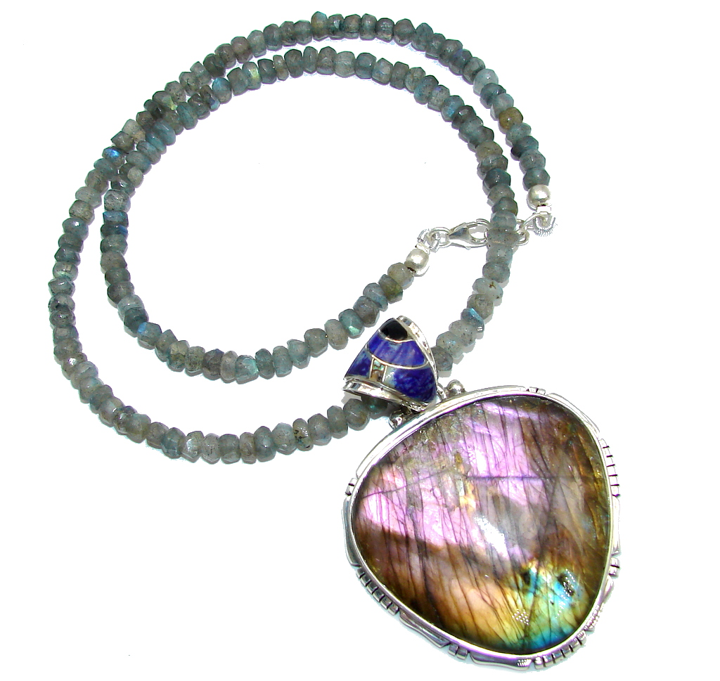 Cloud Of Desire AAA Fire Labradorite Sterling Silver necklace