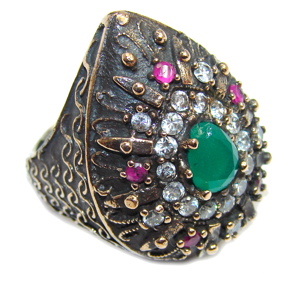 Victorian Style created Emerald & White Topaz Sterling Silver ring; s. 6..