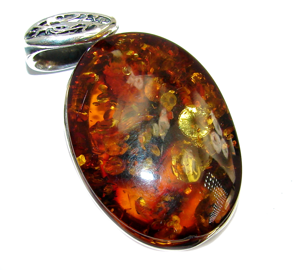 Big Genuine AAA Baltic Polish Amber Two Tones Sterling Silver Pendant