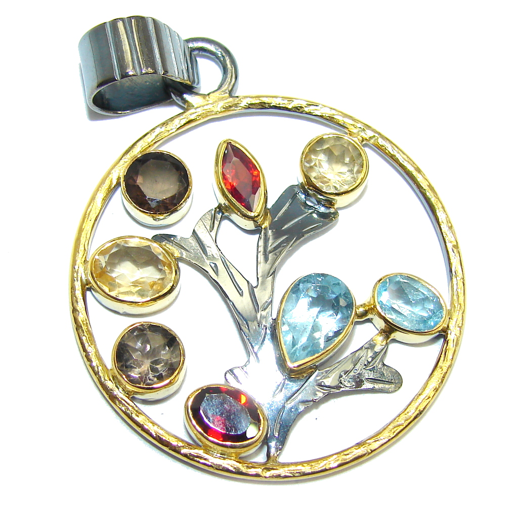 True Beauty Multigem Rose Gold Rhodium Plated Sterling Silver Pendant