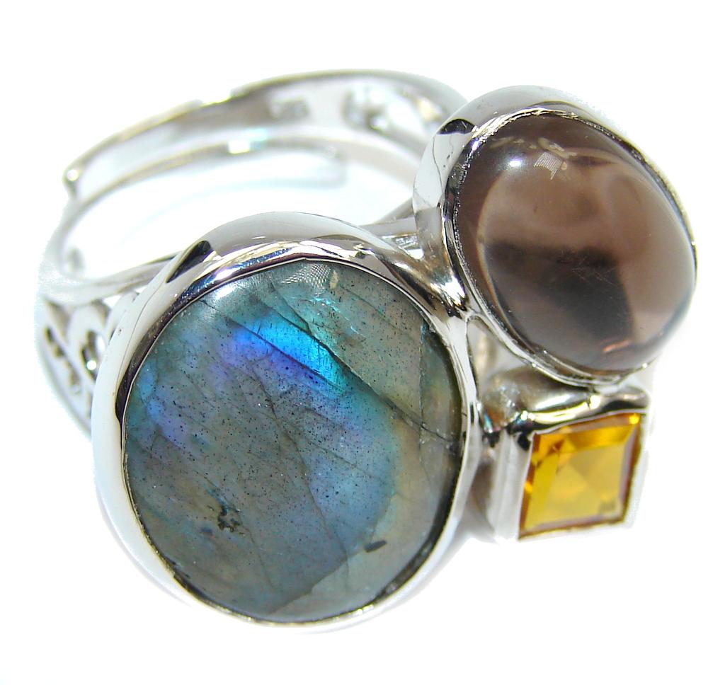 Labradorite Citrine Sterling Silver Handcrafted Ring s. 7 adjustable