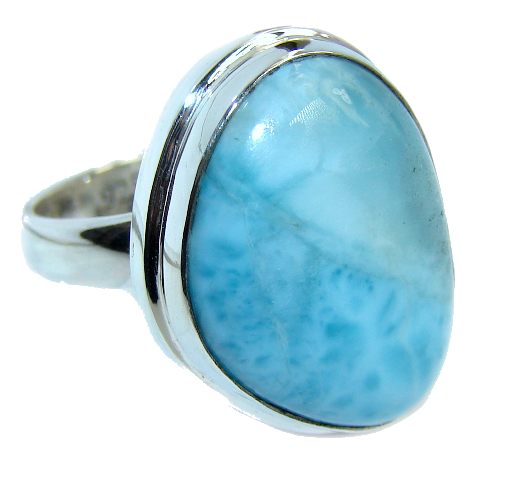 Amazing AAA quality Blue Larimar Sterling Silver Ring s. 8