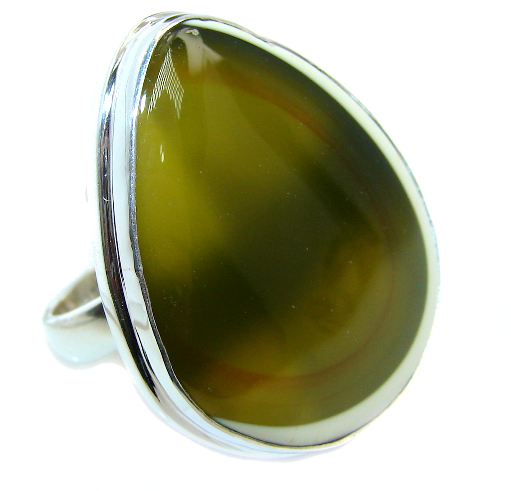 Amazing Imperial Jasper Sterling Silver Ring s. 8 adjustable