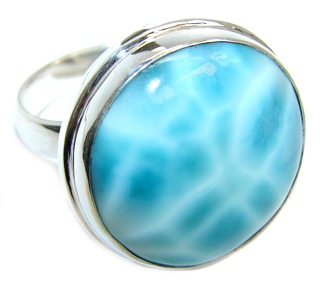 Amazing AAA quality Blue Larimar Sterling Silver Ring s. 8 adjustable
