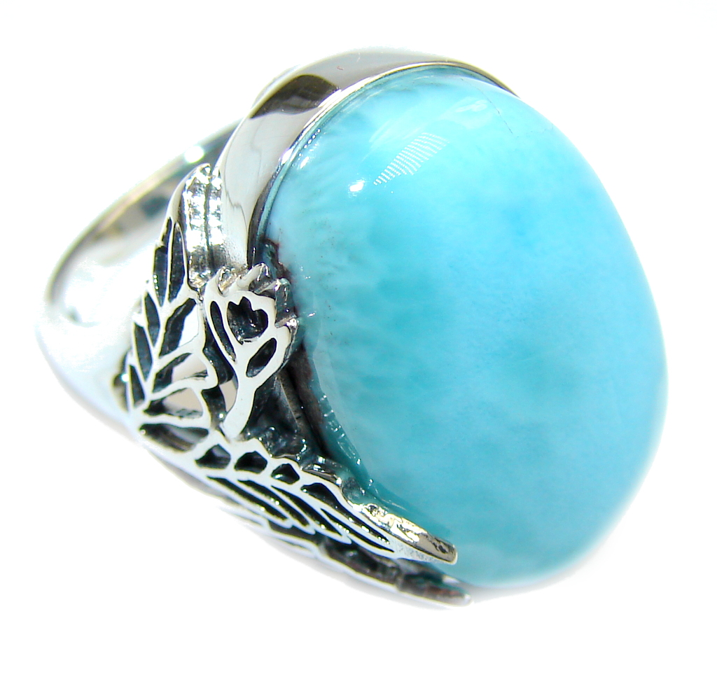 Amazing AAA quality Blue Larimar Sterling Silver Ring s. 7 1/4