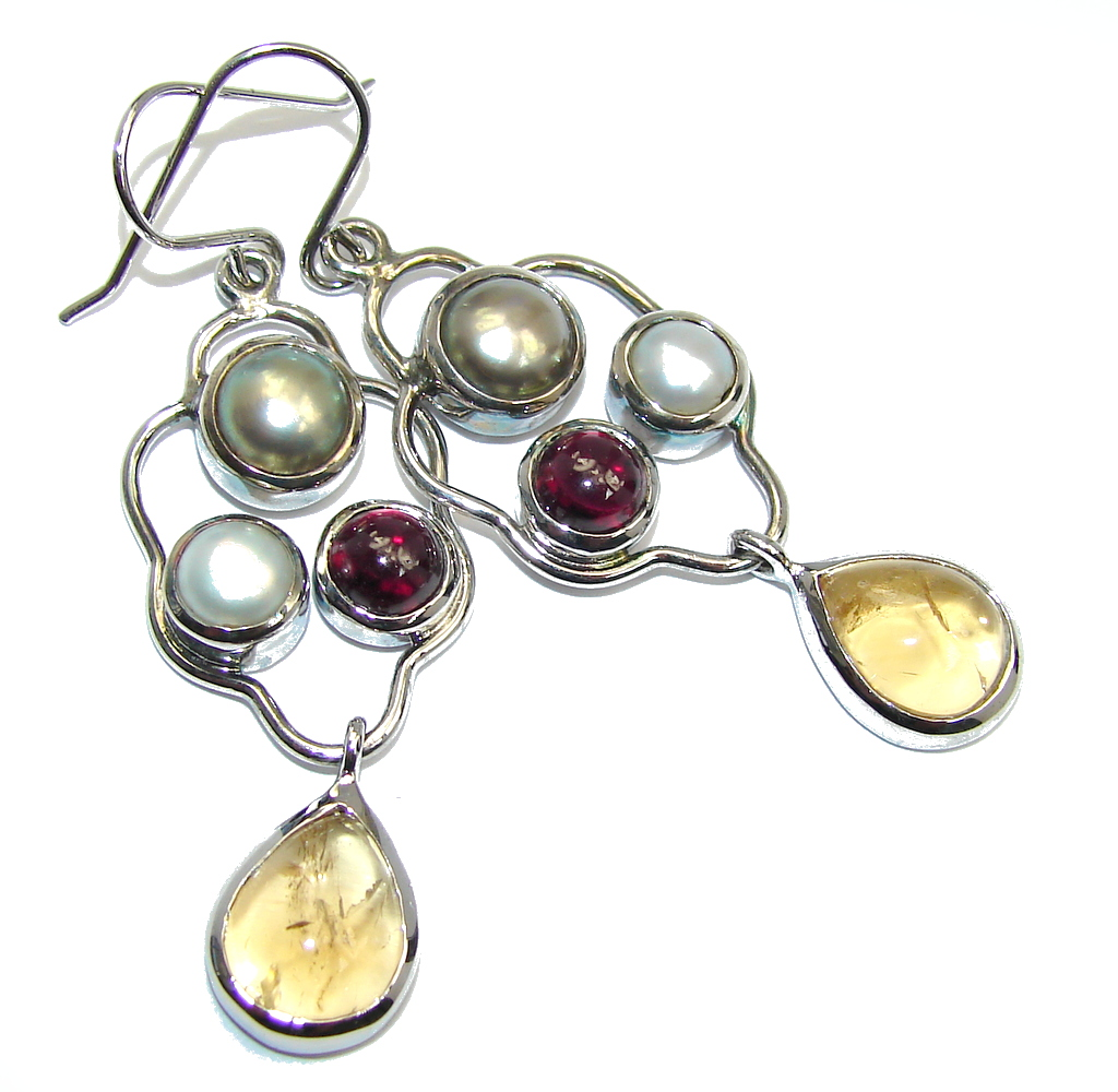 Genuine Yellow Citrine Tourmaline Pearl Sterling Silver earrings