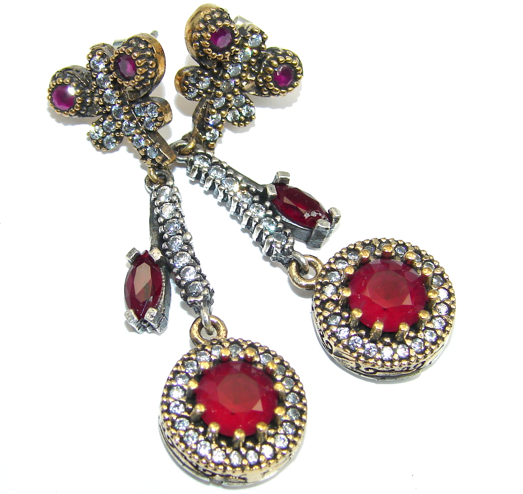 Victorian Style created Ruby Sterling Silver earrings