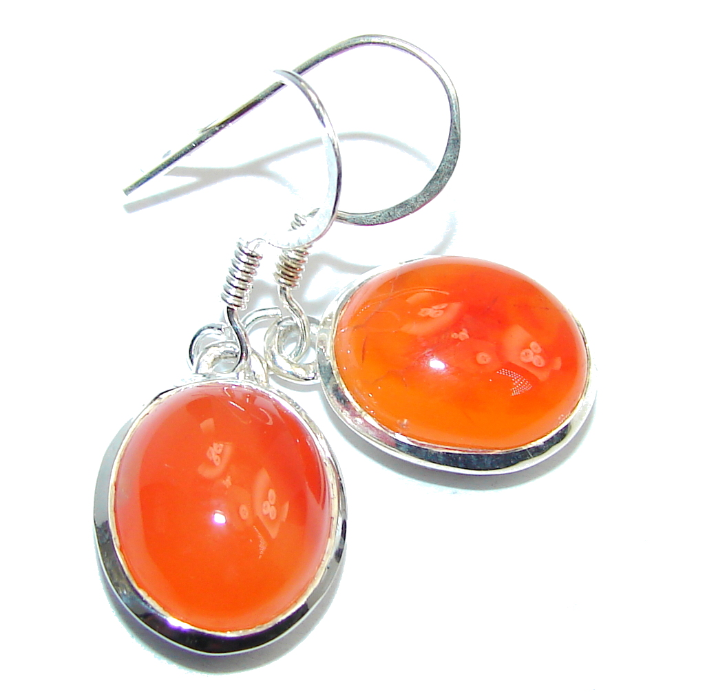 Simple Beauty Orange Carnelian Sterling Silver earrings