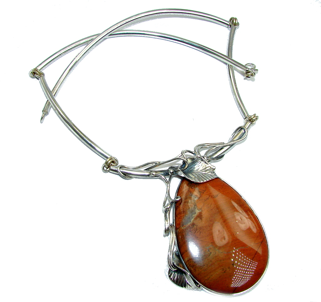 Beautiful  Red Jasper Sterling Silver handcrafted Necklace