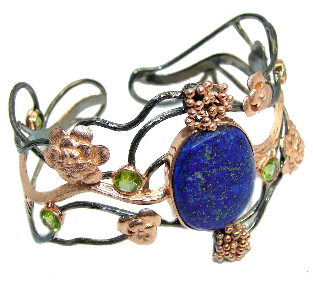 Huge Floral Design Lapis Lazuli Rose Gold Rhodium Over Sterling Silver Bracelet / Cuff