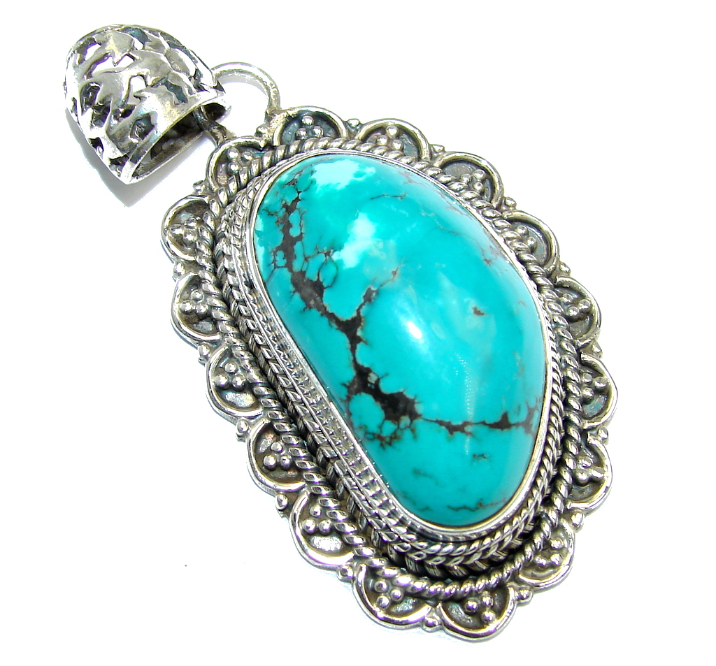 Huge Blue Turquoise .925 Sterling Silver handcrafted Pendant