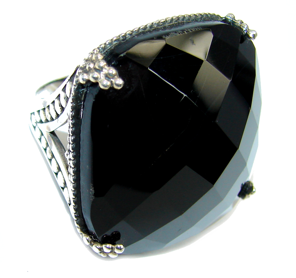 Amazing AAA Black Onyx Sterling Silver ring s. 7 1/2