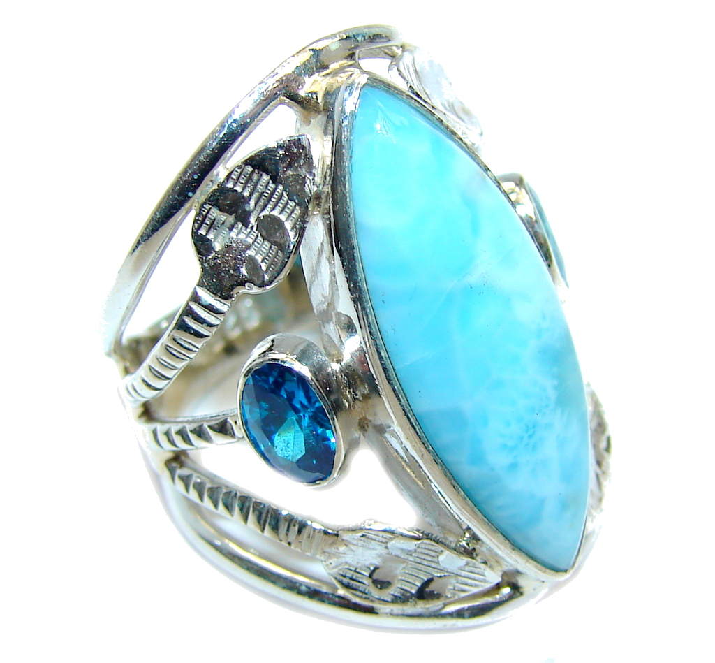 Amazing AAA quality Blue Larimar Sterling Silver Ring s. 7