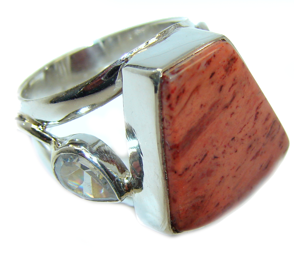 Big Perfect Red Sonora Jasper  Sterling Silver Ring s. 7