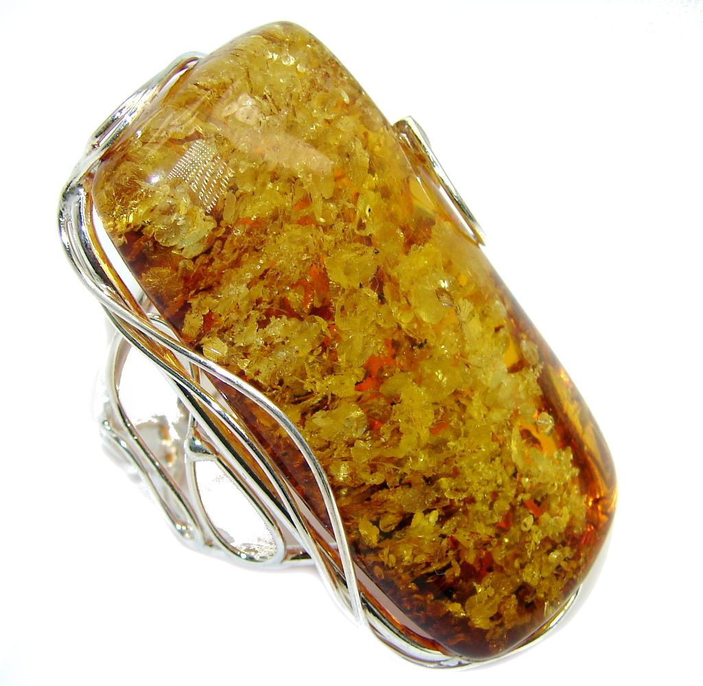 Chunky Oversized Genuine Polish Amber Sterling Silver Ring s. 9 adjustable