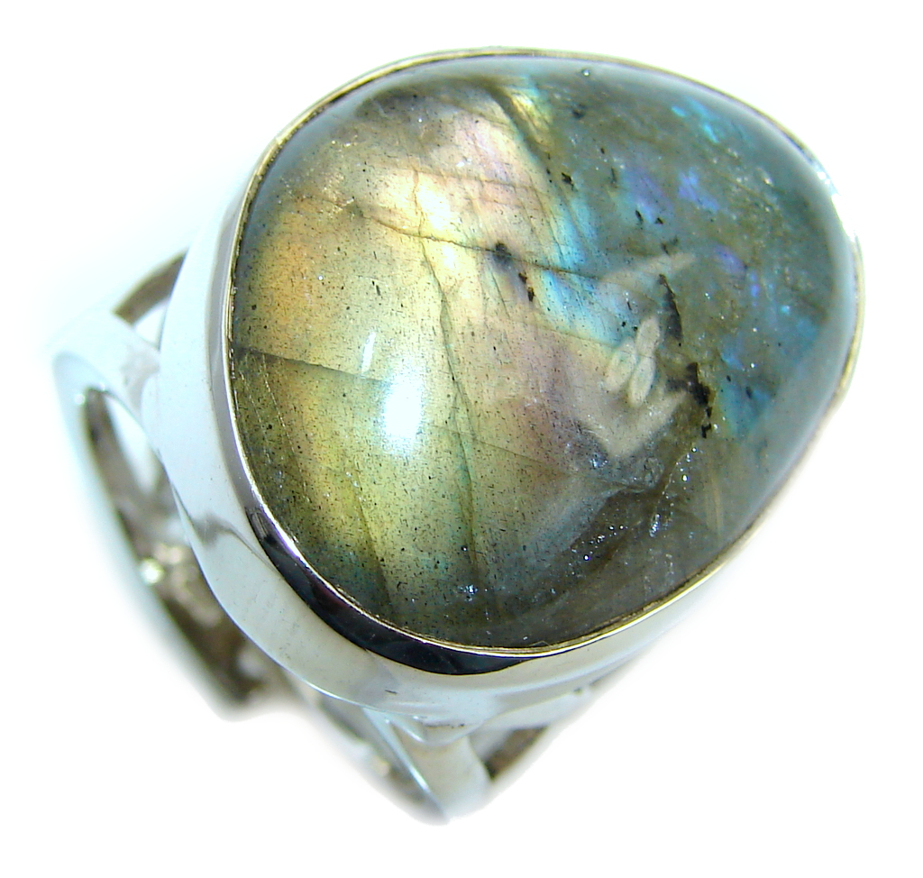 Captured Fire AAA Labradorite Sterling Silver Ring s. 7 1/2- adjustable