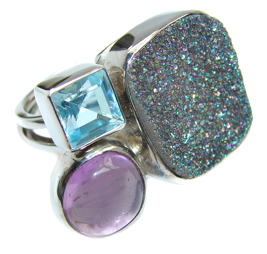 Classic White Agate Druzy Sterling Silver Ring s. 7 1/2 adjustable