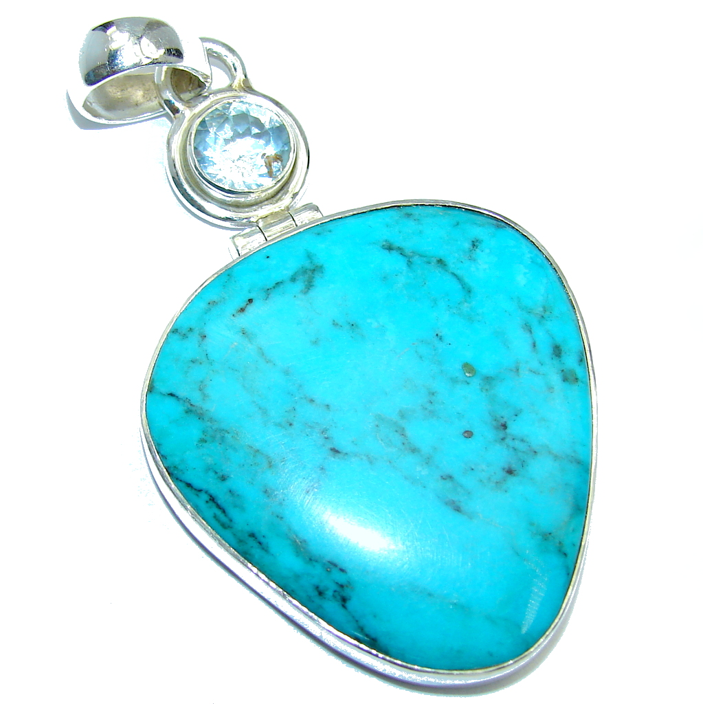 Big! AAA+ Sleeping Beauty Blue Turquoise  Sterling Silver Pendant