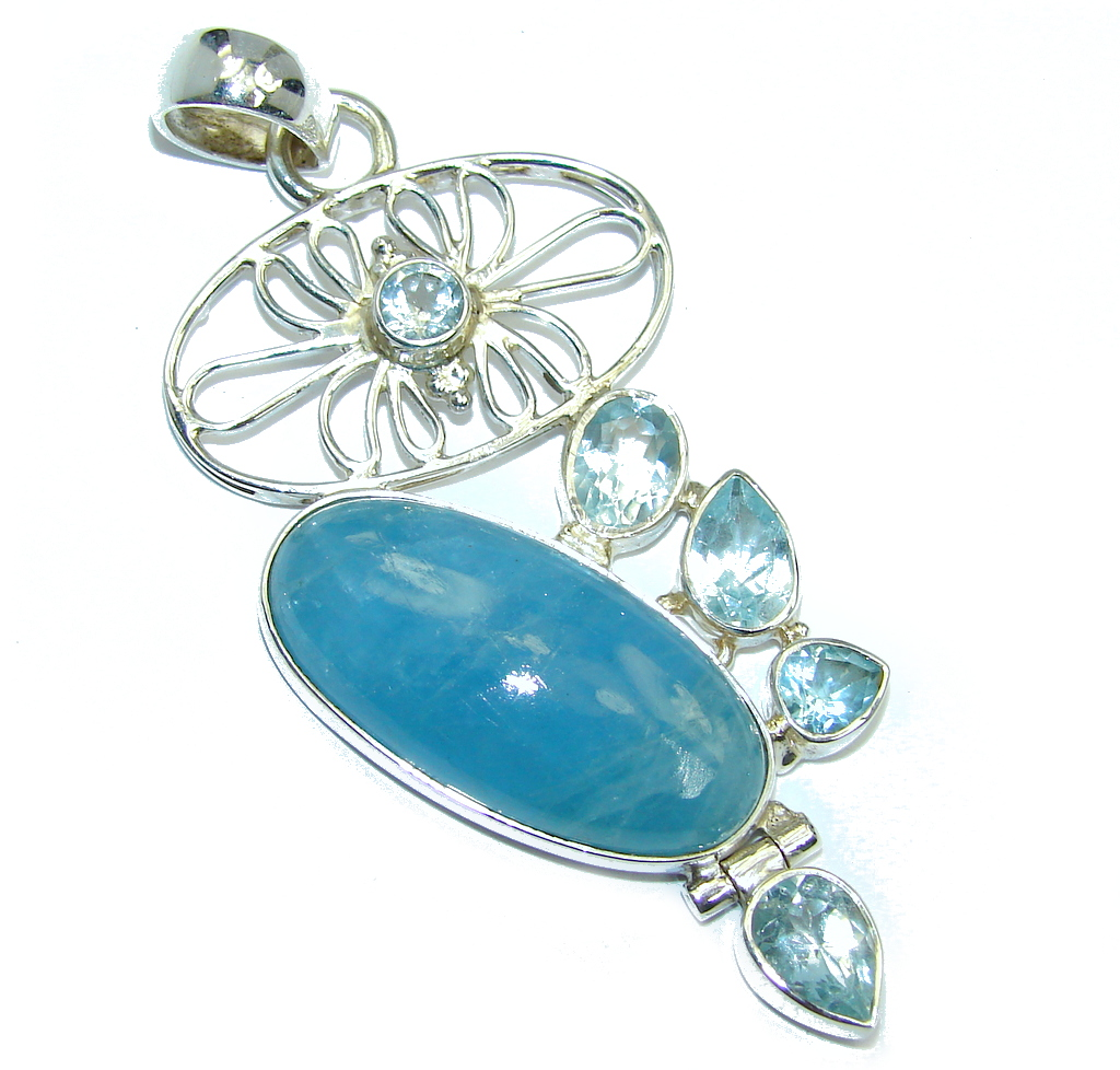 Amazing AAA Blue Aquamarine Blue Topaz Sterling Silver Pendant